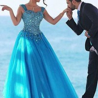 [108.99] Junoesque Tulle Sweetheart Neckline Ball Gown Evening Dresses With Beadings - dressilyme.com