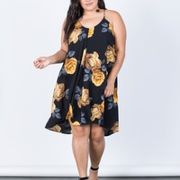 Plus Size Golden Roses Dress