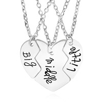 best friends necklace for 3 jewelry Split broken heart big middle little sister pendant puzzle heart necklace