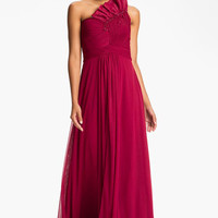 Adrianna Papell Origami Pleat One Shoulder Mesh Gown | Nordstrom