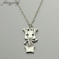 feimeng jewelry Guardians of the Galaxy Necklace Lovely Baby Groot Pendant Necklace For Women Men Fashion Accessories