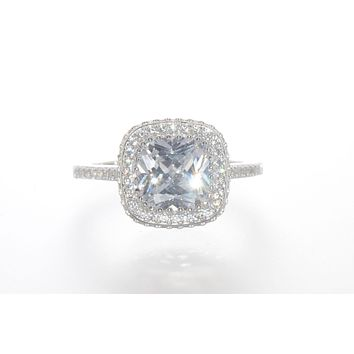 Sterling Silver CZ Ring 9mm Square Princess Cut Center Stone with Accent Stones