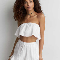 AEO Ruffle Tube Top , White