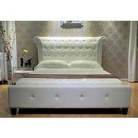 Luxury White Leather Upholstered Bed