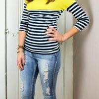 You know it Yellow Colorblock Striped Shirt