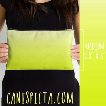 Chartreuse Ombre Studio Pouch Neon Yellow Green Art Gradient Accessory Clutch Bag Carryall Black Purse Zipper Makeup Fluorescent Bright Cute