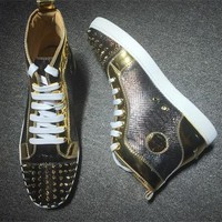 Christian Louboutin CL Lou Spikes Style #2214 Sneakers Fashion Shoes Best Deal Online