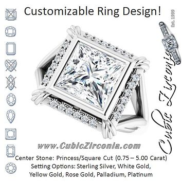 "Cubic Zirconia Engagement Ring- The Leontine (Customizable Princess/Square Cut Design with Split Band and ""Lion's Mane"" Halo)"
