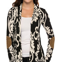 Printed long sleeve cardigan with suede patch