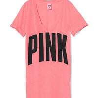 Cuffed V-Neck Tee - PINK - Victoria's Secret