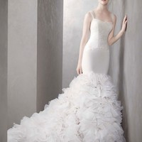 Georgette Mermaid Gown with Dramatic Organza Skirt - David's Bridal