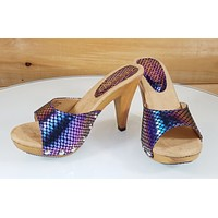 "Mac J Purple Snake Holo Slip On 4"" High Heel Shoes Mule Clogs Vintage Wood Look"