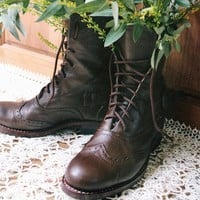 Brown Leather Victorian Ankle Boots