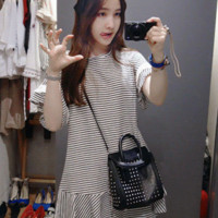 Drop Waist Stripe Dress - Miamasvin loves u! Womens Clothing. Korean Fashion.