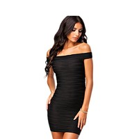 New Slash Neck Black/Pink/Blue/Wine Red Solid Color Sexy Stripe Knitting Elastic Party Dresses For Women