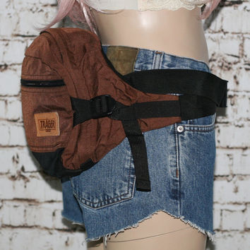 90s Hip Pack Trager USA Fanny Canvas Nylon  Backpack Rucksack Brown Black Day Bag Hiking Camping Gear Hipster Festival Mens Wear 80s Travel