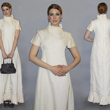 Vintage 60s IVORY Wedding Dress / Priscilla of Boston / Silk Taffeta Full Length Dress / High Collar, Ruffle Skirt / Minimalist Elegant / Sm