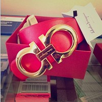 Ferragamo Fashion Contracted Smooth Buckle Belt Leather Belt F-A-GFPDPF Red