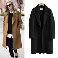 5XL Plus Size Wool Coat 2017 Autumn Winter Casual Long Coats Loose Thick Warm Outerwear With Pockets Black Camel Women's Coat
