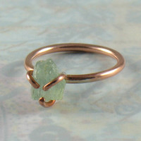 Raw Uncut Aquamarine Rustic Prong Solid Copper Ring Available in Size 5
