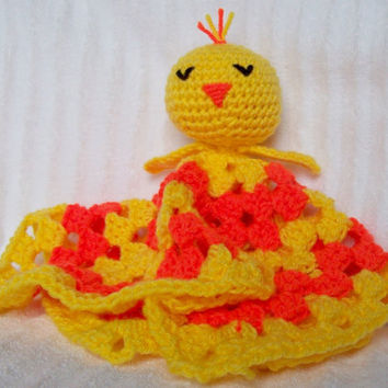 Sleeping Duckling Crochet Baby Blanket, Baby Lovey, Baby Lovie , Security Blanket, Duckling Blanket, Duck Nursery Decor