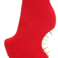 Red Smooth Velvety Platform Spiked Curved Wedges @ Amiclubwear Wedges Shoes Store:Wedge Shoes,Wedge Boots,Wedge Heels,Wedge Sandals,Dress Shoes,Summer Shoes,Spring Shoes,Prom Shoes,Women's Wedge Shoes,Wedge Platforms Shoes,floral wedges,Fashion Wedge Shoe