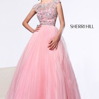 Sherri Hill 2984 Sheer Cap Sleeve Prom Dress