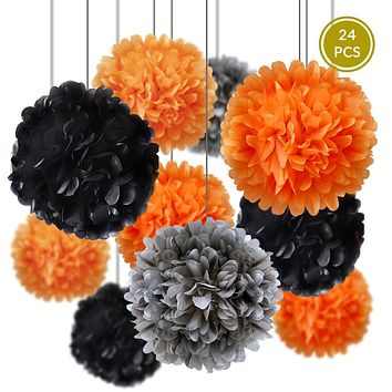 Halloween Celebration Party Pack Tissue Paper Pom Pom Combo Set (24 pc Set)