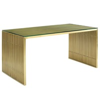 Gridiron Stainless Steel Dining Table / Office Desk Gold