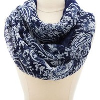 Damask Paisley Print Infinity Scarf by Charlotte Russe - Navy Combo