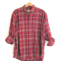 Vintage boyfriend flannel / red plaid shirt / grunge shirt / tomboy shirt