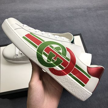 Gucci red and green interlocking double G print men and women white shoes