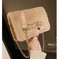 MOSCHINO Popular Women Shopping Bag Leather Plush Bag Shoulder Bag Crossbody Satchel Khaki