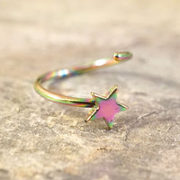 Rainbow Titanium Star Nose Hoop Ring