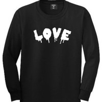 Kings Of NY Love Goth Blood Font Hate Long Sleeve T-Shirt