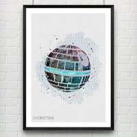 Star Wars Poster, Death Star Watercolor Art Print, Kids Bedoom Decor, Minimalist Home Decor, Not Framed, Buy 2 Get 1 Free! [No. 31]