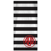 Personalized Beach Towel, Horizontal Lines Monogrammed Towel -  64 Colors