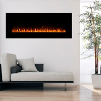 Wall-mounted 54-inch Electric Fireplace with Remote