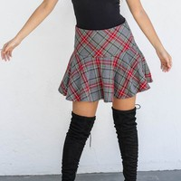 Higher Levels Gray Plaid Skirt