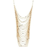 Gold Flattened Link Ladder Chain Necklace by Charlotte Russe