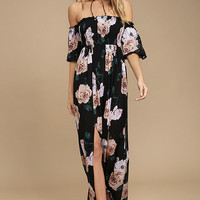 Primrose Princess Black Floral Print Off-the-Shoulder Maxi Dress