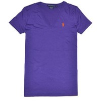 Ralph Lauren Sport Women Lightweight V-Neck T-Shirt (S, Squire purple)