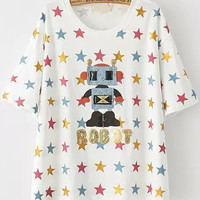 White Short Sleeve Robot Stars Print T-Shirt
