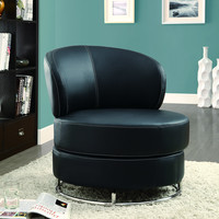 """Grey """"Circular"""" Fabric Accent Chair and Ottoman"""