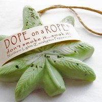 Dope on a Rope Soap  - Northern Lights - Hemp Soap - Eucalyptus Peppermint Oils - Hippie Retro Boho Marijuana Cannabis Fun Green Gifts
