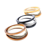 Metal and Wooden Mix Bangle Set