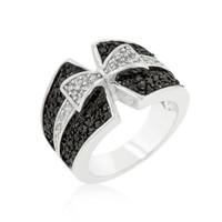 Jet Black And Clear Cubic Zirconia Bow Tie Ring, size : 06