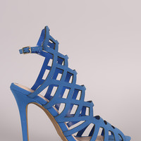 Nubuck Geometric Cutout Peep Toe Stiletto Heel