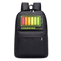Cool Backpack school Intelligent Voice Control Cool Flashing Light Backpack For Teenager School Bags Backpack Weekend Travel Nylon Laptop Backpack AT_52_3