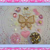Gold, pink and white DIY 3d alloy rhinestone bling gold butterfly kawaii decoden kit for cell  phone deco kit